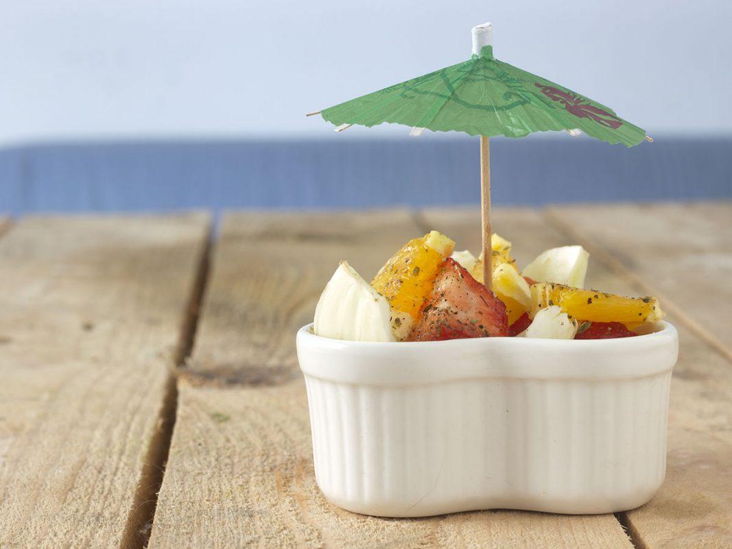 Merenda di finocchi, arance e fragole